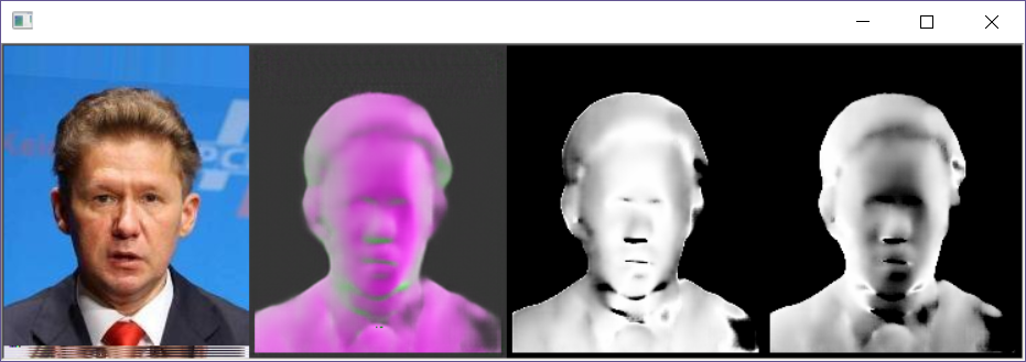 Second example of a generated surface normal for a face