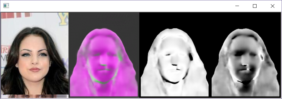 Third example of a generated surface normal for a face